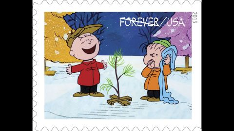 Charlie Brown and Linus with a little tree chosen by Charlie Brown as a Christmas symbol for the holiday play he is directing. Although the other kids ridicule his tree at first, they come to support him.