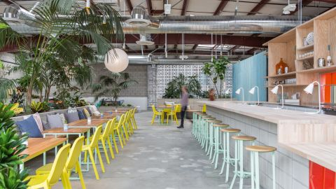 """This vegan <a href=""""http://thespringsla.com/"""" target=""""_blank"""" target=""""_blank"""">oasis</a> in Los Angeles arts district offers a multipurpose space sprawling across more than 13,000 square feet within a standard-issue 1980s cinder block warehouse. <br />Designed by architects Catherine Johnson and Rebecca Rudolph of, ahem, Design Bitches, the health super center offers holistic treatments, yoga and a vegan menu.<br /><br />Design byDesign Bitches, Photo byLaure Jolietfrom Let's Go Out Again, Copyright Gestalten 2015"""