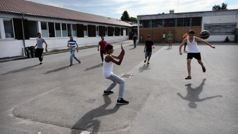 As well as setting up the training camp for kids, Bayern will also offer them meals and German language classes in conjunction with the city of Munich. Here migrants seeking political asylum play football at the registration center on August 26, 2015 in Ingelheim, Germany.