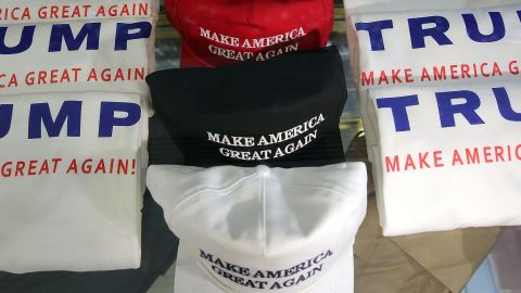 Merchandise of GOP presidential front-runner Donald Trump is viewed for sale at Trump Tower in Manhattan on September 3, 2015 in New York City.