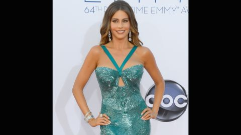 """Sofia Vergara sparkled in a skin-tight mermaid gown at the 2012 Emmys. The dress later split on the """"Modern Family"""" star, causing her team <a href=""""http://www.hollywoodreporter.com/fash-track/sofia-vergaras-dress-split-accidentally-backside-emmys-373418"""" target=""""_blank"""" target=""""_blank"""">to literally sew her back into it. </a>"""