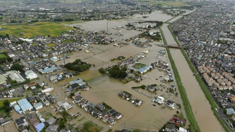 The flooded town of Koshigaya, Saitama prefecture, near Tokyo Thursday, Sept. 10, 2015, after heavy rains pummeled the region.