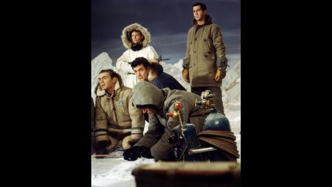 """""""Ice Station Zebra"""" (1968) helped slow the decline of Hudson's movie career. He played the Navy commander of a nuclear submarine headed to the North Pole to rescue an endangered scientific weather station. Slammed by critics, the Cold War-era adventure flick nevertheless was reportedly one of the star's favorites. And reclusive billionaire Howard Hughes also apparently was fond of """"Ice Station Zebra."""" Ernest Borgnine, far left, co-starred as a Russian defector!"""