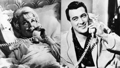 """A split screen, a shared party line and a little sexual innuendo in """"Pillow Talk"""" (1959) helped establish one of the screen's great romantic teams -- Doris Day and Rock Hudson.  The actor initially was reluctant to tackle a comedy role, especially opposite the more experienced Day. But the fellow Midwesterners clicked -- they teasingly dubbed each other """"Eunice"""" and """"Ernie."""" The stars reteamed for """"Lover Come Back"""" (1961) and """"Send Me No Flowers"""" (1964)."""
