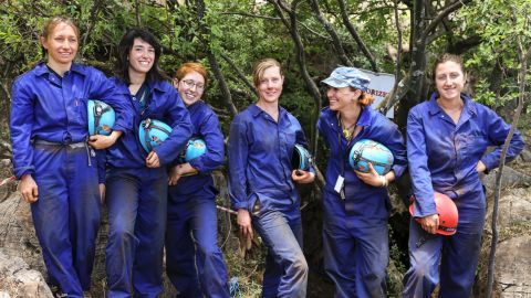 The six women were able to fit through a 7-inch opening in the cave to reach the chamber where the bones were found.
