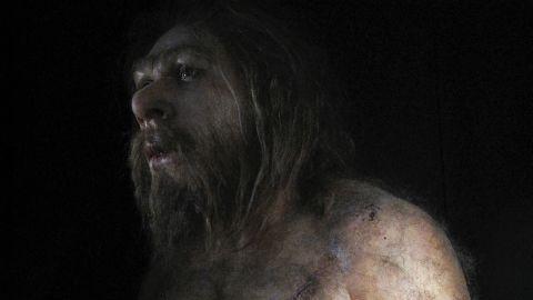A rendering of Homo neanderthalensis.