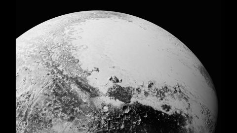 This picture is a synthesis of new high-resolution images downlinked from New Horizons. The broad icy plains have been nicknamed Sputnik Planum. This image is from a perspective above Pluto's equatorial area. Astronomers began downlinking a data dump from the space craft over Labor Day weekend, September 5 to 7.