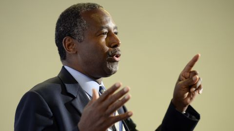 Republican presidential candidate Ben Carson speaks during new conference before a campaign rally at the Anaheim Convention Center September 9, 2015 in Anaheim, California.