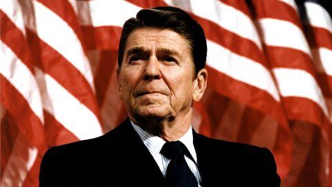 FILE - Former U.S. President Ronald Reagan speaks at a rally for Senator Durenberger February 8, 1982.