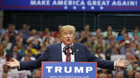 DALLAS, TX - SEPTEMBER 14:  Republican presidential candidate Donald Trump speaks during a campaign rally at the American Airlines Center on September 14, 2015 in Dallas, Texas. More than 20,000 tickets have been distributed for the event.  (Photo by Tom Pennington/Getty Images)