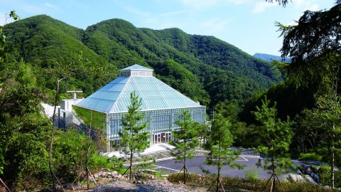 The Light of Life church is located on the outskirts of Seoul, South Korea, on the south side of Bori mountain. The exterior of the church resembles a modern green-house pyramid, and encases a wooden dome.<br />