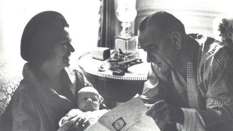 President Lyndon B. Johnson reads the Presidential Daily Brief.