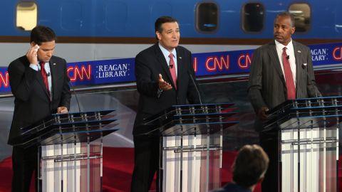 Cruz speaks during the debate.