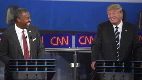 donald trump and ben carson during the CNN Republican presidential debate at the Ronald Reagan Presidential Library and Museum on Wednesday, Sept. 16, 2015, in Simi Valley, Calif. (AP Photo/Mark J. Terrill)