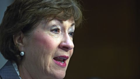 Sen. Susan Collins (R-ME), speaks during a hearing of the Senate Health, Education, Labor, and Pensions Committee which examines the reauthorizing of the Higher Education Act, focusing on combating campus sexual assault.
