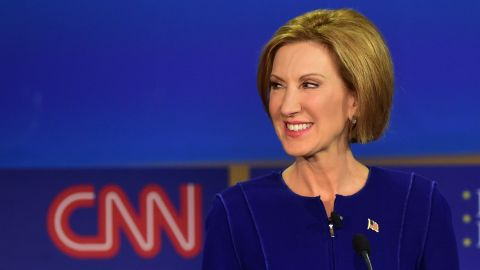 Republican presidential hopeful Carly Fiorina looks on during the Republican presidential debate at the Ronald Reagan Presidential Library in Simi Valley, California, on September 16, 2015.