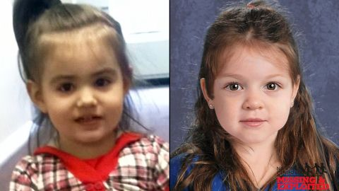 """""""Baby Doe"""" has been identified as Bella Bond.  The image on the left is a photo of Bella taken from Facebook, the one on the left is a composite image provided by the MAssachustts State Police after her remains were found."""