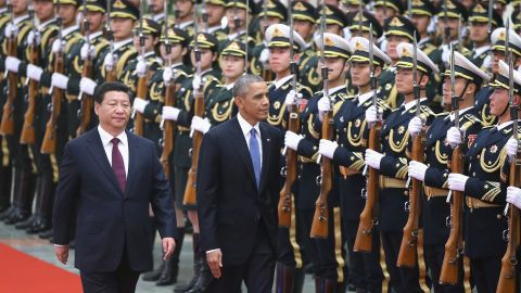 Chinese President Xi Jinping holds a welcoming ceremony for U.S. President Barack Obama at the Great Hall of the People on November 12, 2014 in Beijing, China.