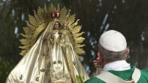 Pope Francis blesses the Virgin of Charity as he celebrates Mass on September 20.