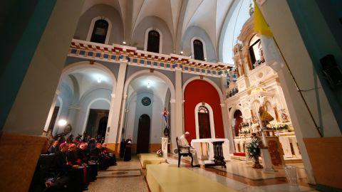 Pope Francis prays inside a sanctuary in El Cobre, Cuba, on Monday, September 21.