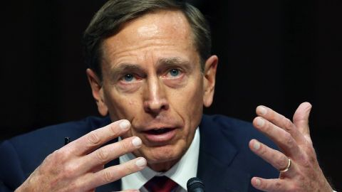 Retired US Army Gen. David Petraeus speaks during a Senate Armed Services Committee hearing on Capitol Hill September 22, 2015 in Washington, D.C.