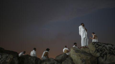 Muslim pilgrims pray on the Mountain of Mercy on Tuesday, September 22.