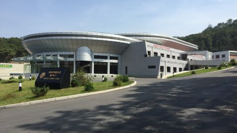 The futuristic space center is in a residential area not far from the center of Pyongyang.