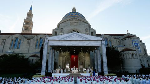 The Pope celebrates Mass at the National Shrine of the Immaculate Conception on September 23.