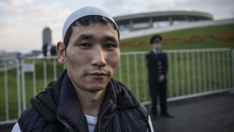 """On Wednesday Russia opened the new Moscow Cathedral Mosque to coincide with Eid al-Adha celebrations. We asked Moscow's Muslims to tell us what  the day means to them. Kurban Eshmakov is from Kyzgyzstan and works as a sweeper in a Moscow office. """"It is a great feast for us,"""" he says. """"People are being treated, I am full of joy about it."""""""
