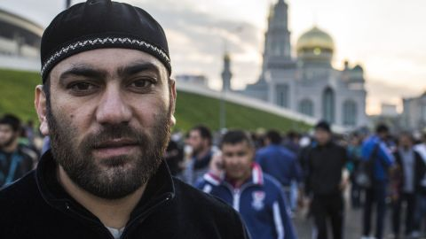 """Izet Miskhi is from Bosnia-Herzegovina and works at a construction site in Moscow. He has lived here for 25 years and says Eid al-Adha (feast of sacrifice) is """"the most important day for Muslims."""""""