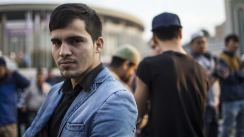 """Adkham Abduraiymov, 22, is from Uzbekistan and has lived in Moscow for two years. He says Eid al-Adha is celebrated in a different way in different places. """"It is difficult for me to explain, this religion is in our blood since our day of birth,"""" he adds."""