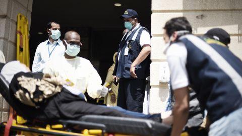 Saudi medics tend to an injured pilgrim.