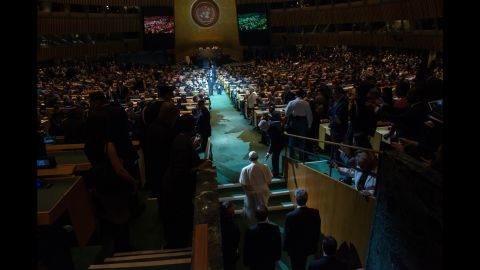 The Pope arrives at the U.N. General Assembly to give his speech.