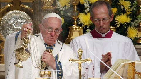 Pope Francis blesses Communion during a Mass at Cathedral Basilica of Saints Peter and Paul, Saturday, September 26, in Philadelphia.