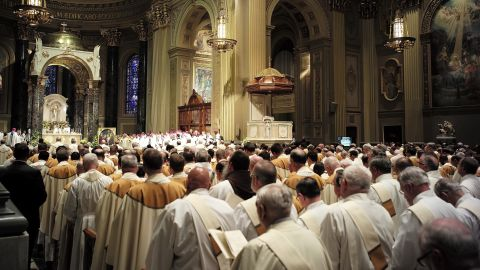 Pope Francis delivers Mass before a crowd of more than 2,000, consisting largely of priests, women religious and deacons on September 26.