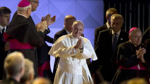 Pope Francis takes the stage at the Festival of Families on September 26 in Philadelphia.