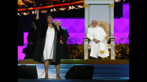 Aretha Franklin performs as Pope Francis  looks on during the Festival of Families on September 26 in Philadelphia.