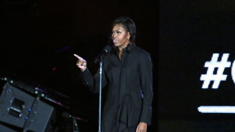 Michelle Obama appeared onstage and in a videotaped message Saturday at the Global Citizen Festival in New York.