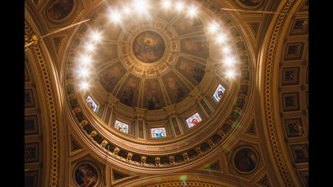 An ornate dome tops the basilica where the Pope celebrated Mass on Saturday.