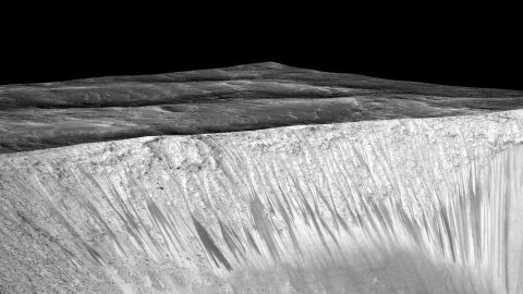 Recurring slope lineae emanate out of the walls of the Garni crater on Mars.