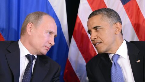 """Obama listens to Putin after their bilateral meeting in Los Cabos, Mexico on June 18, 2012 on the sidelines of the G-20 summit. The meeting was the first time Obama and Putin held face-to-face talks since Putin returned to the president's office earlier that year.  Obama said he and Putin discussed the conflict in Syria and """"agreed that we need to see a cessation of the violence, that a political process has to be created to prevent civil war."""""""