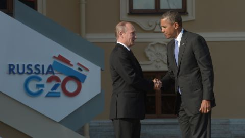 Putin greets Obama at the G-20 summit on September 5, 2013 in St. Petersburg, Russia. The United States and Russia have been squaring off over the bloody civil war in Syria.