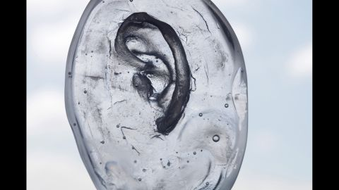 A glass mold of an ear.