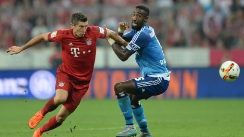 Making a perfect start to the new Bundesliga season, Lewandowski scores Bayern's second goal in a 5-0 demolition of Hamburg.
