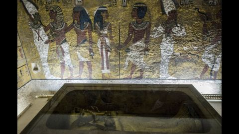 A picture taken on September 28 shows the golden sarcophagus of King Tutankhamun in his burial chamber in near Luxor.