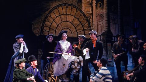 """Actress Julie Andrews and others appear in the play """"My Fair Lady"""" in 1956."""