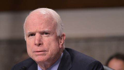 Senate Armed Service Committee Chairman Sen.John McCain, R-AZ, speaks during a Committee hearing on the military campaign against the Islamic State on July 7, 2015 on Capitol Hill in Washington, DC. AFP PHOTO/MANDEL NGAN        (Photo credit should read MANDEL NGAN/AFP/Getty Images)