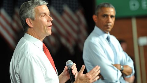 DES MOINES, IA - SEPTEMBER 14:  U.S. Secretary of Education Arne Duncan speaks alongside U.S. President Barack Obama at a town hall style meeting at North High School on September 14, 2015 in Des Moines, Iowa. Obama discussed changes to the federal student loan process that he said would make college more affordable and accessible for students and their families. (Photo by Steve Pope/Getty Images)