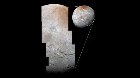 """Images from two instruments on New Horizons are combined in this photo to <a href=""""http://www.nasa.gov/feature/pluto-s-big-moon-charon-reveals-a-colorful-and-violent-history"""" target=""""_blank"""" target=""""_blank"""">show Charon's cratered uplands</a> at the top and a series of canyons. The bottom of the image shows rolling plains."""