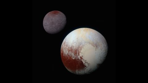 """<a href=""""http://www.nasa.gov/feature/pluto-s-big-moon-charon-reveals-a-colorful-and-violent-history"""" target=""""_blank"""" target=""""_blank"""">This composite of enhanced color images</a> shows the striking differences between Pluto, lower right, and its largest moon, Charon. NASA says the color and brightness of the two worlds have been processed identically to allow for direct comparison. Pluto and Charon are shown with approximately correct relative sizes, but their true separation is not to scale."""